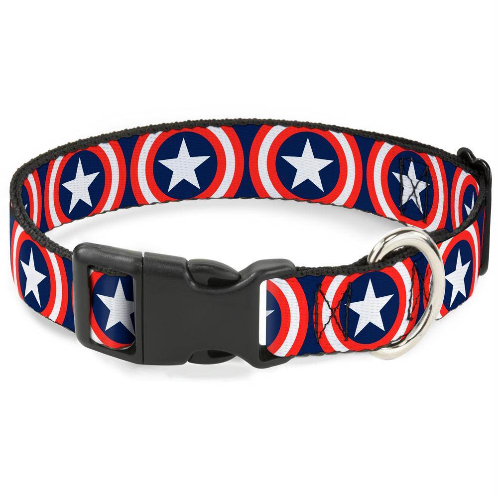 Buckle-Down Captain America Shield Navy Pet Collar - staygoldendoodle.com