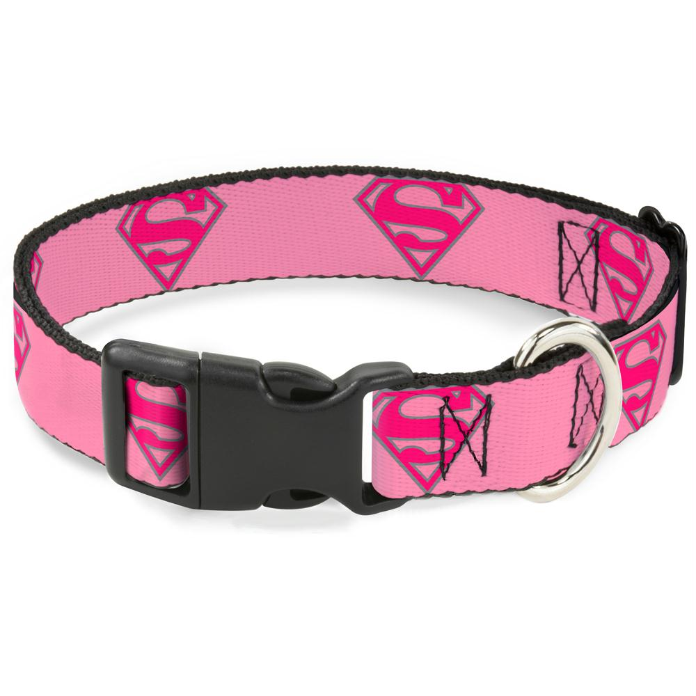 Buckle-Down Superman Shield Pink Pet Collar - staygoldendoodle.com