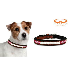 Oklahoma Sooners Classic Leather Football Collar - staygoldendoodle.com