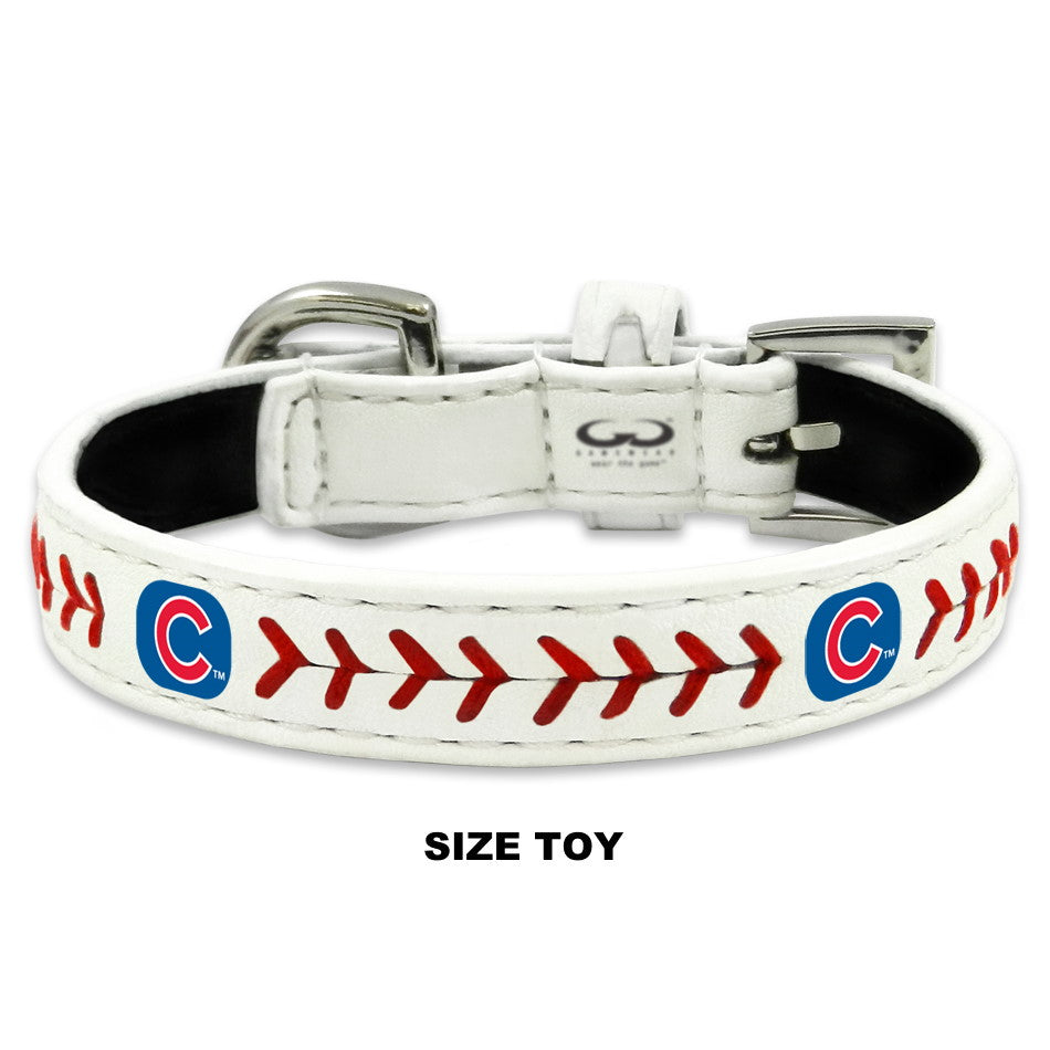 Chicago Cubs Classic Leather Baseball Collar - Toy - staygoldendoodle.com