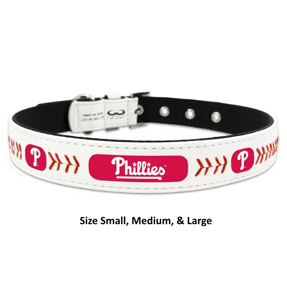 Philadelphia Phillies Classic Leather Baseball Collar - staygoldendoodle.com