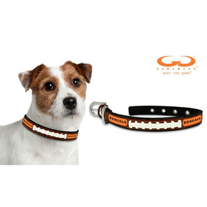 Cincinnati Bengals Classic Leather Football Collar - staygoldendoodle.com