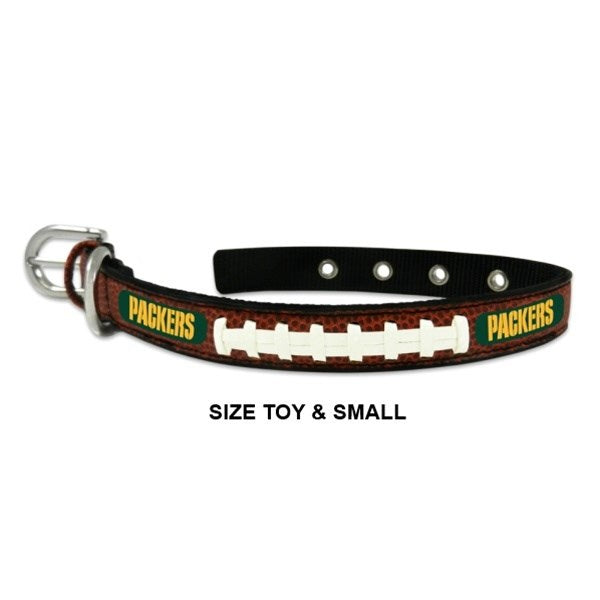 Green Bay Packers Classic Leather Football Collar - staygoldendoodle.com
