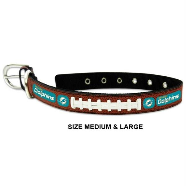 Miami Dolphins Classic Leather Football Collar - staygoldendoodle.com