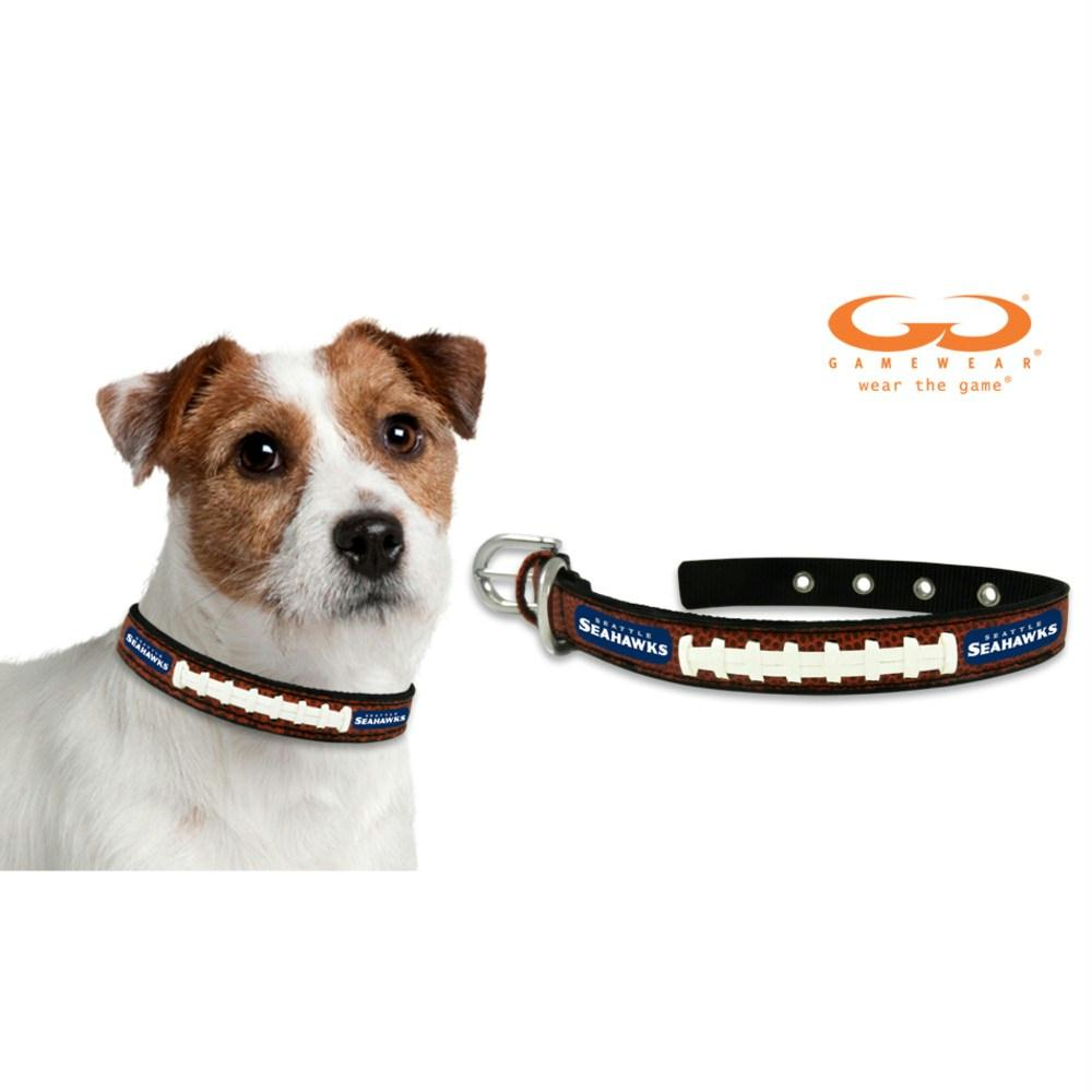 Seattle Seahawks Classic Leather Football Collar - staygoldendoodle.com