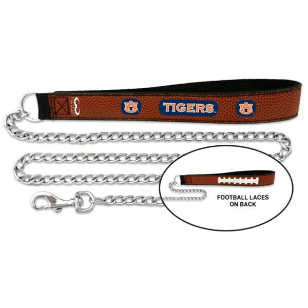 Auburn Tigers Football Leather and Chain Leash - staygoldendoodle.com