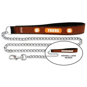 Clemson Tigers Football Leather and Chain Leash - staygoldendoodle.com
