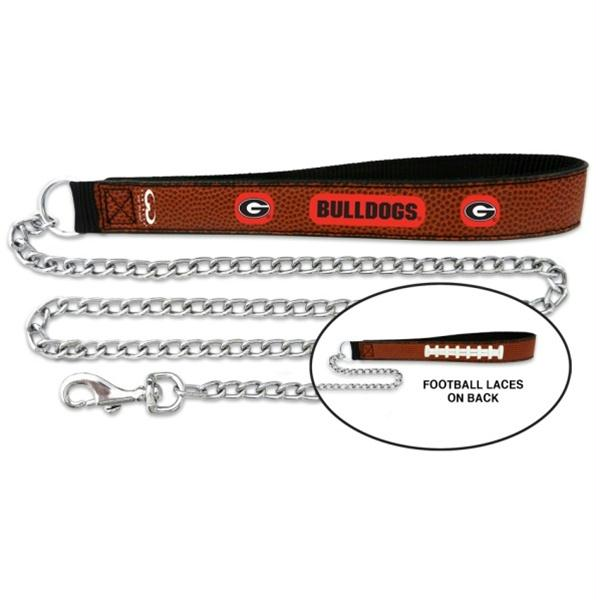 Georgia Bulldogs Football Leather and Chain Leash - staygoldendoodle.com