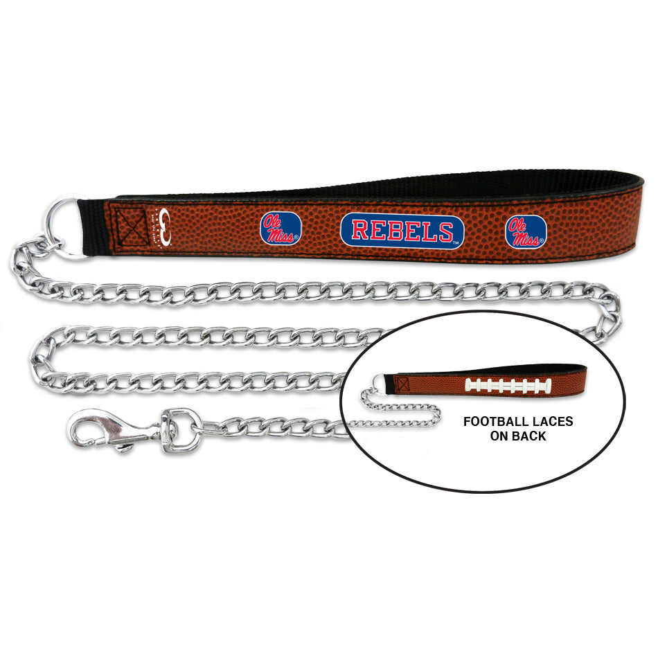 Ole Miss Rebels Football Leather and Chain Leash - staygoldendoodle.com