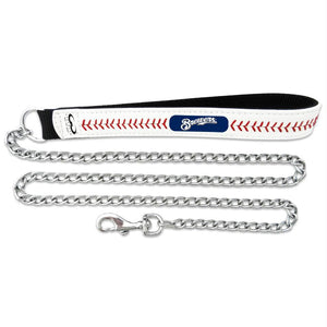 Milwaukee Brewers Leather Baseball Seam Leash - staygoldendoodle.com
