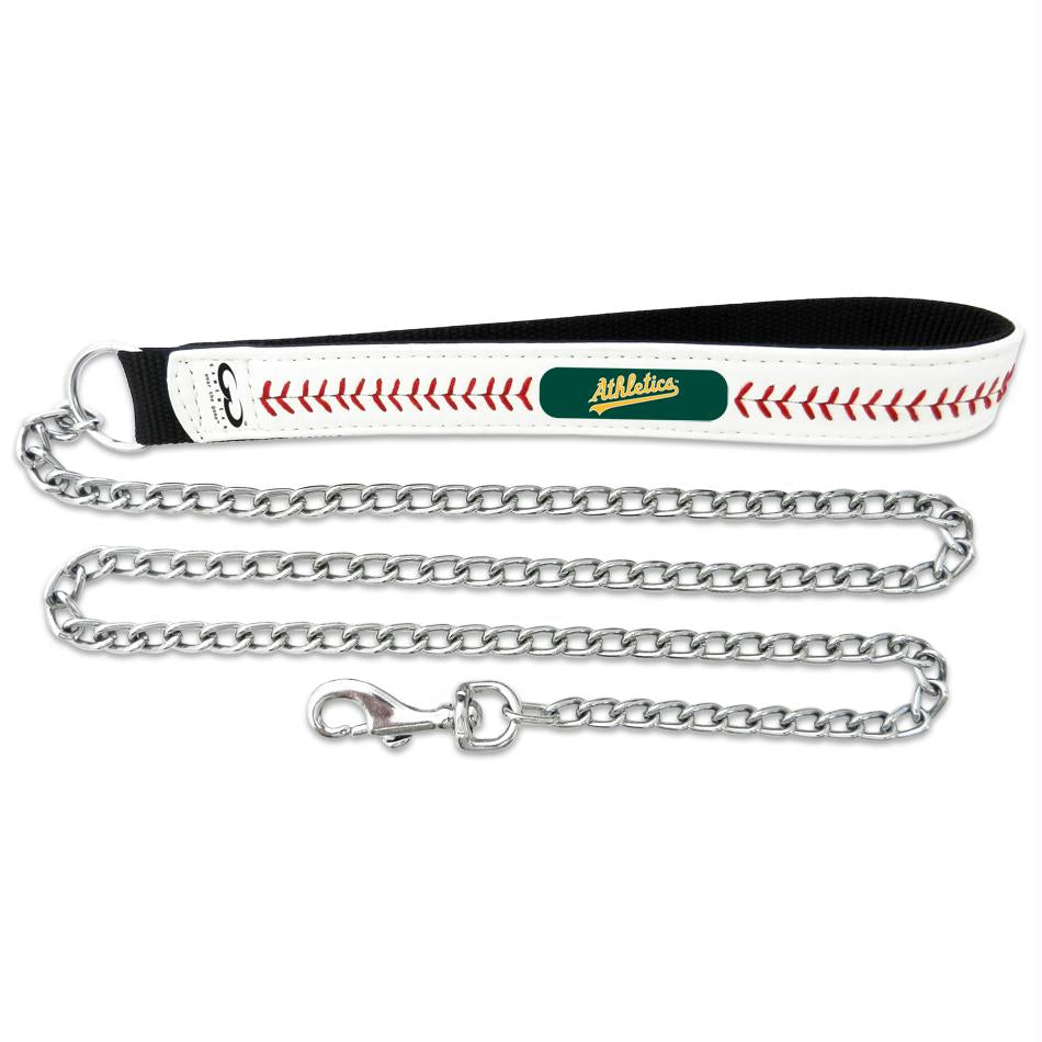 Oakland A's Leather Baseball Seam Leash - staygoldendoodle.com