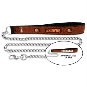 Cleveland Browns Football Leather and Chain Leash - staygoldendoodle.com