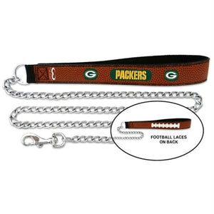 Green Bay Packers Football Leather and Chain Leash - staygoldendoodle.com