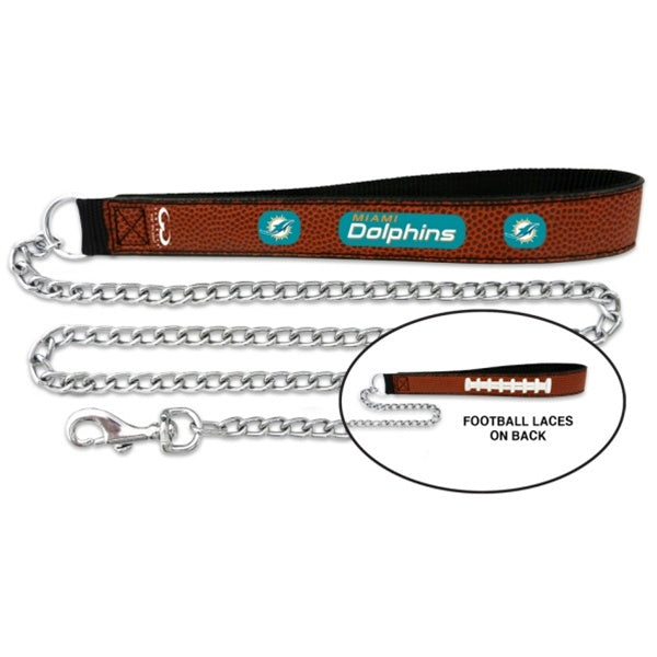Miami Dolphins Football Leather and Chain Leash - staygoldendoodle.com