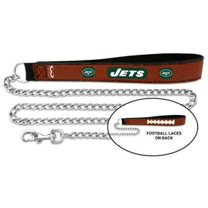New York Jets Football Leather and Chain Leash - staygoldendoodle.com