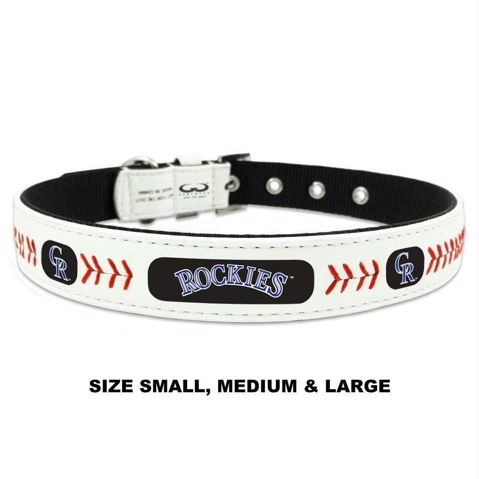 Colorado Rockies Classic Leather Baseball Collar - staygoldendoodle.com