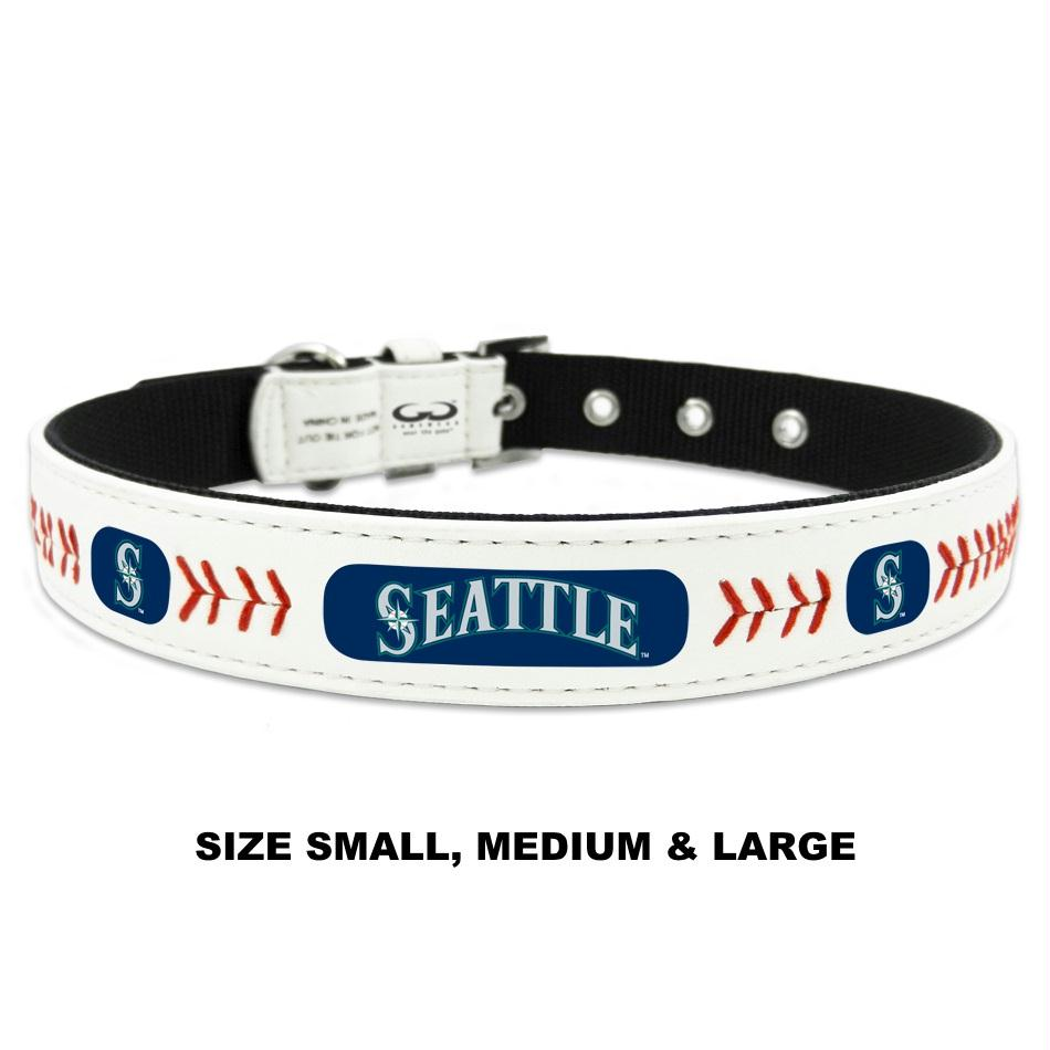 Seattle Mariners Classic Leather Baseball Collar - staygoldendoodle.com