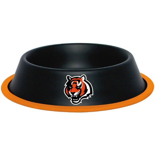 Cincinnati Bengals Gloss Black Pet Bowl - staygoldendoodle.com
