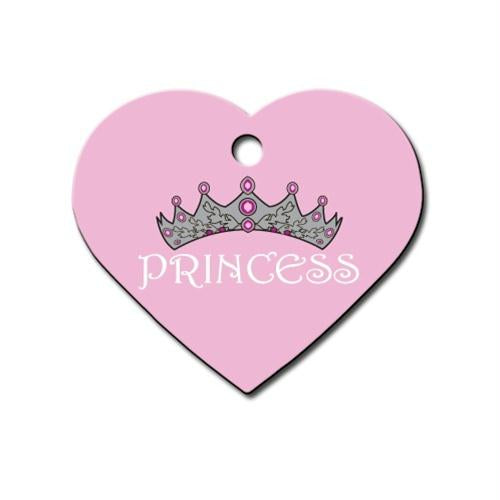 Large Pink Princess Heart ID Tag - staygoldendoodle.com