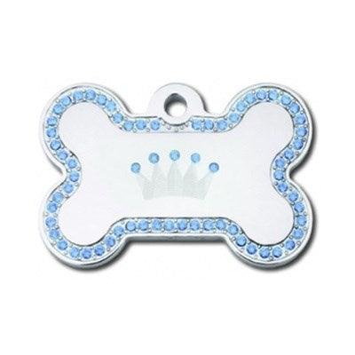 Swarovski Crystal Crown Bone ID Tag - staygoldendoodle.com