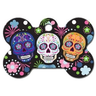 Day of the Dead Large Bone ID Tag - staygoldendoodle.com