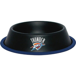 Oklahoma City Thunder Gloss Black Pet Bowl - staygoldendoodle.com
