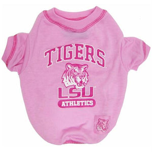 LSU Tigers Pink Dog Tee Shirt - staygoldendoodle.com