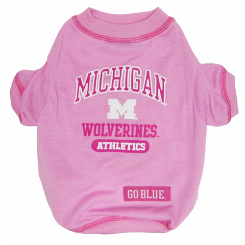 Michigan Wolverines Pink Dog Tee Shirt - staygoldendoodle.com