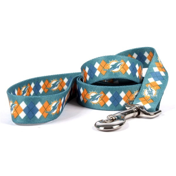 Miami Dolphins Argyle Nylon Leash - staygoldendoodle.com