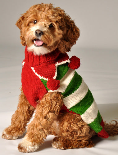 Hand-knit Christmas Elf Dog Sweater