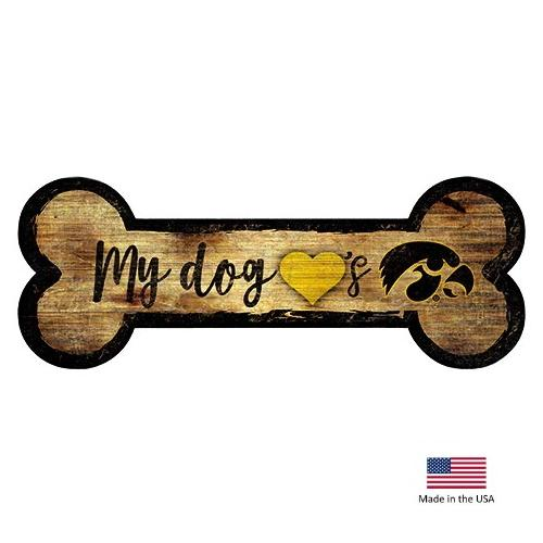 Iowa Hawkeyes Distressed Dog Bone Wooden Sign