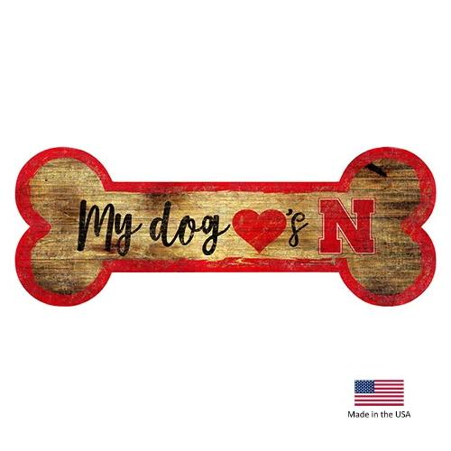 Nebraska Huskers Distressed Dog Bone Wooden Sign