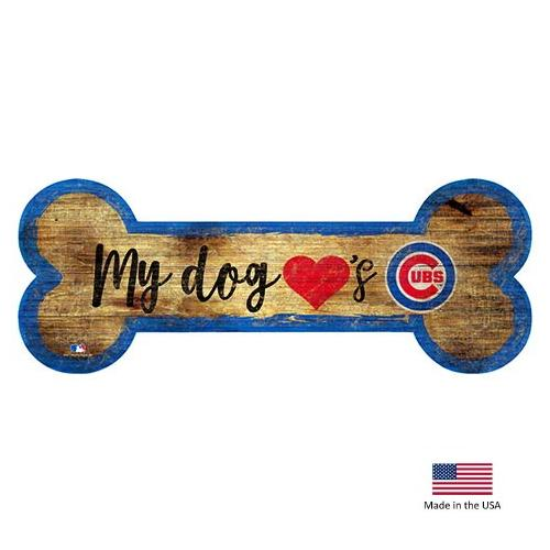Chicago Cubs Distressed Dog Bone Wooden Sign