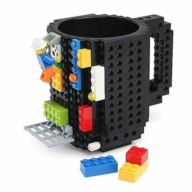 Taza lego creativa con bloques personalizable 350ml color negro