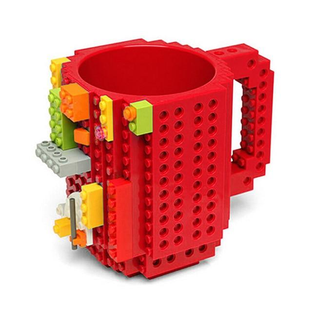 Taza lego creativa con bloques personalizable 350ml color rojo