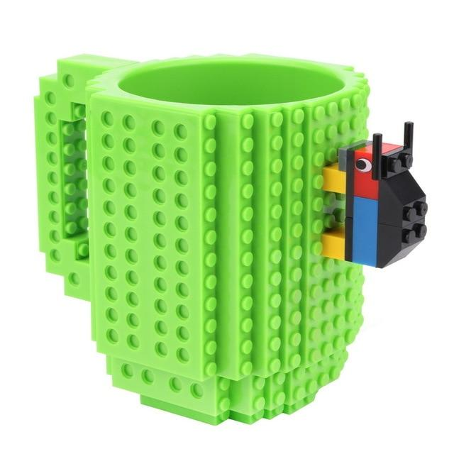 Taza lego creativa con bloques personalizable 350ml color verde
