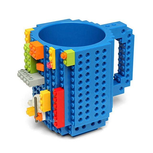 Taza lego creativa con bloques personalizable 350ml color azul
