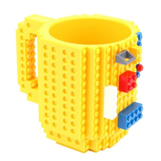 Taza lego creativa con bloques personalizable 350ml color amarillo