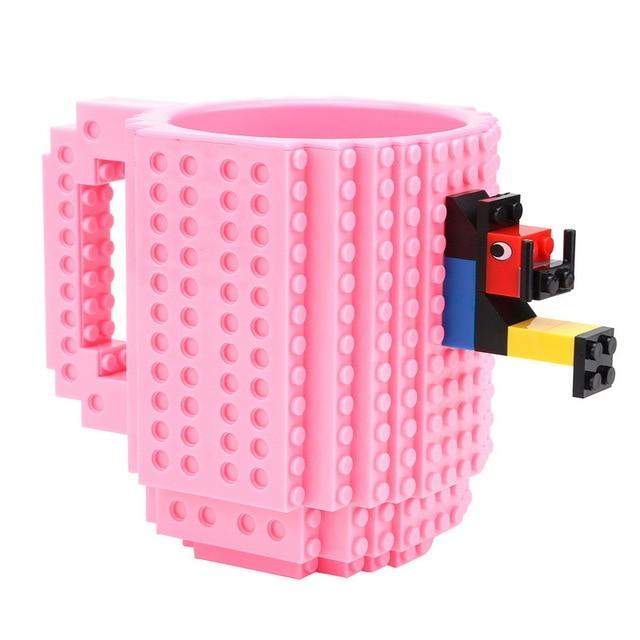 Taza lego creativa con bloques personalizable 350ml color rosa