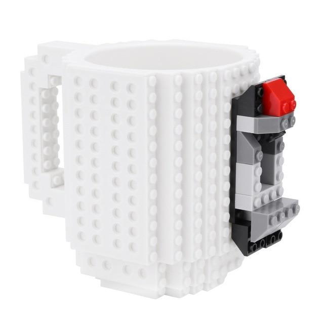 Taza lego creativa con bloques personalizable 350ml color blanco