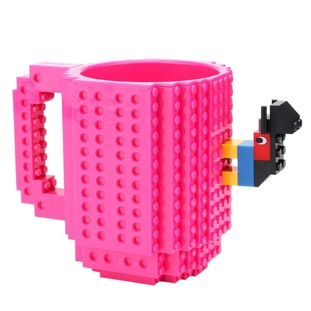 Taza lego creativa con bloques personalizable 350ml color fucsia