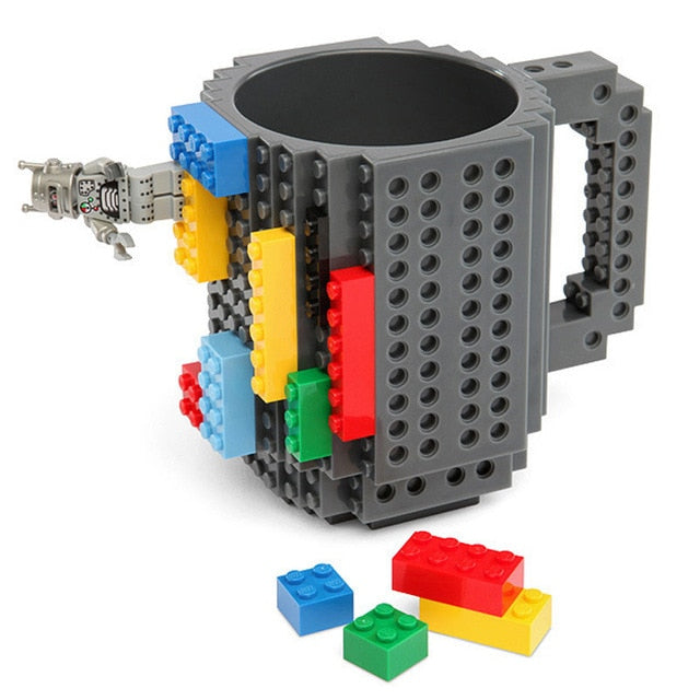 Taza lego creativa con bloques personalizable 350ml color gris