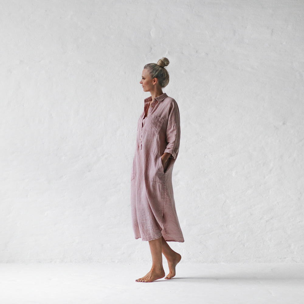 Organic Linen Shirt Dress  - Dusty Pink