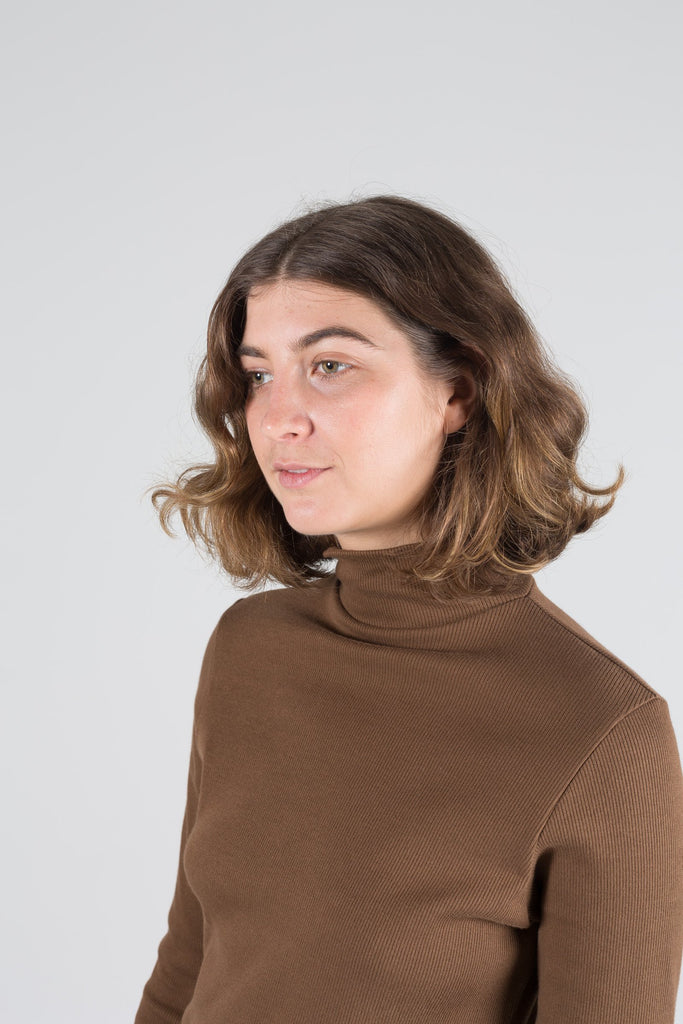 Organic Rib Skivvy in Coffee - XS & XL