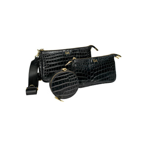 Personalised 3-in-1 Cross Body Bag - Black Croc Leather