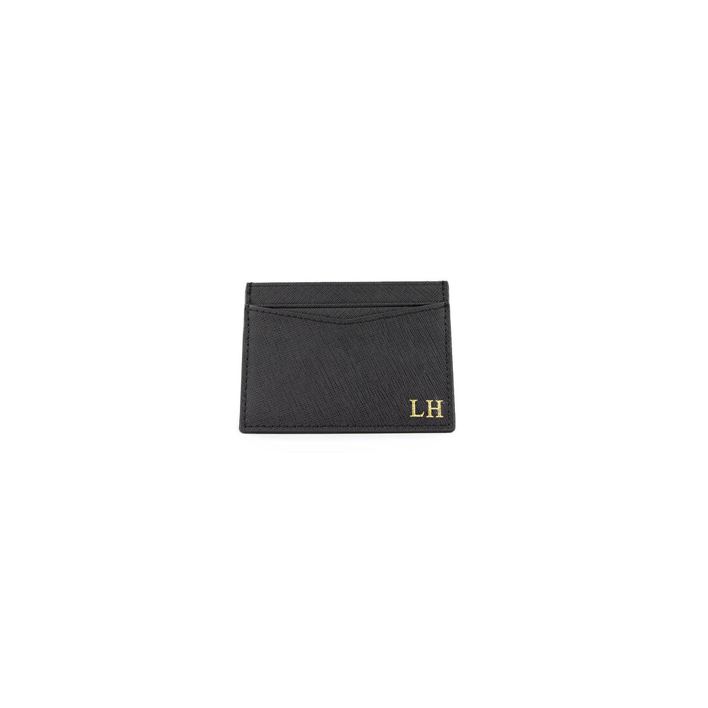 Personalised Black Monogrammed Saffiano Leather Card Holder
