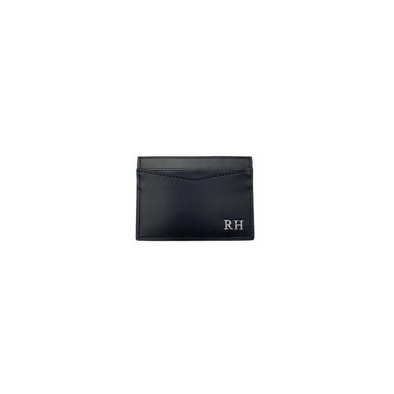 Personalised Black Monogrammed Smooth Leather Card Holder