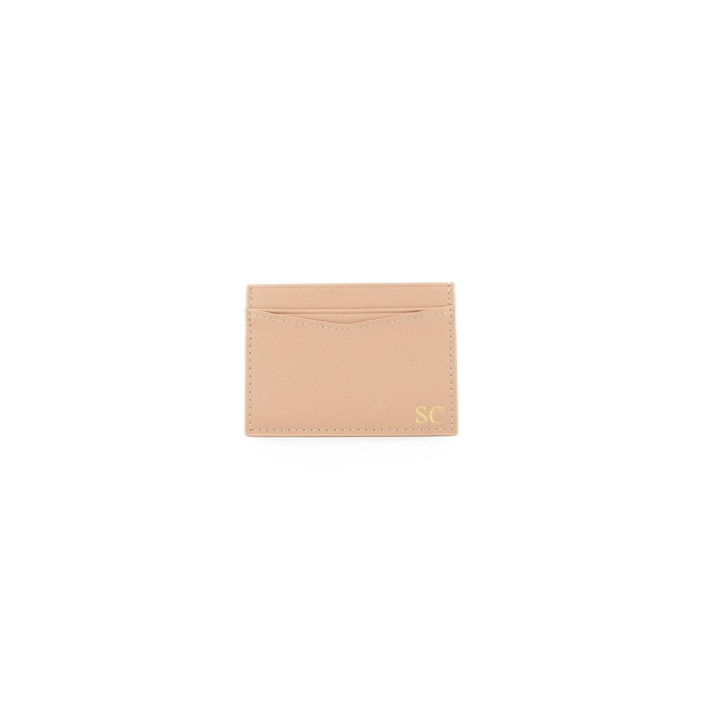 Personalised Nude Monogrammed Saffiano Leather Card Holder