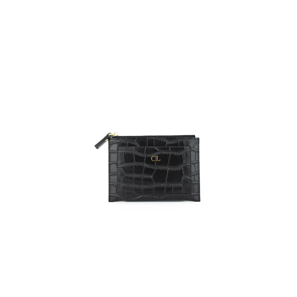 Personalised Black Monogrammed Croc Effect Leather Coin Purse