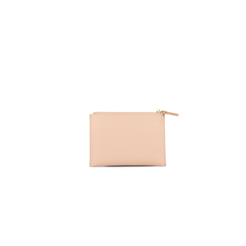 Personalised Coin Purse - Nude Saffiano Leather